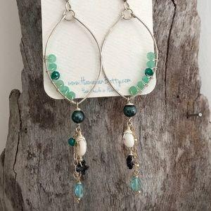 HAWAIIAN BETTY handmade two-toned hoop earrings
